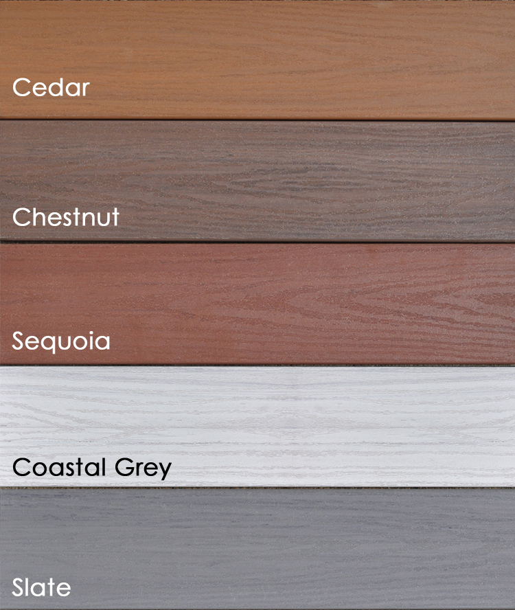 Endeck PVC Decking Forest Series: Sequoia, Cedar, Chestnut, and Slate